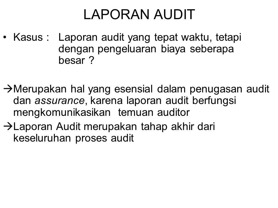 LAPORAN AUDIT Kasus : Laporan audit yang tepat waktu, tetapi dengan pengeluaran biaya seberapa besar ?  Merupakan hal yang esensial dalam penugasan a