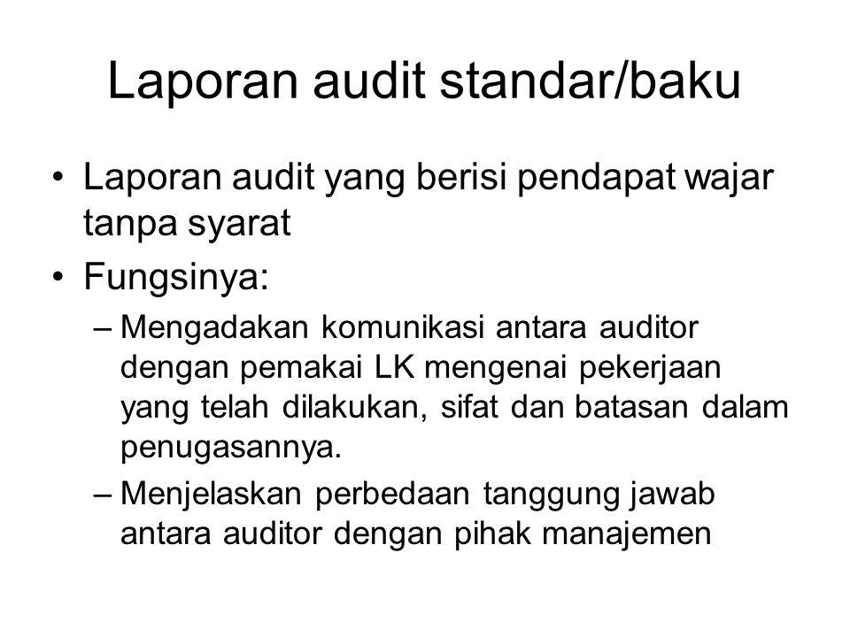 Laporan audit standar/baku Laporan audit yang berisi pendapat wajar tanpa syarat Fungsinya: –Mengadakan komunikasi antara auditor dengan pemakai LK me