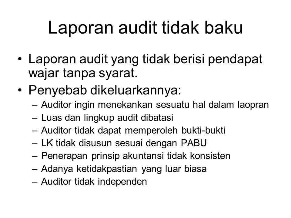 Laporan audit tidak baku Laporan audit yang tidak berisi pendapat wajar tanpa syarat. Penyebab dikeluarkannya: –Auditor ingin menekankan sesuatu hal d