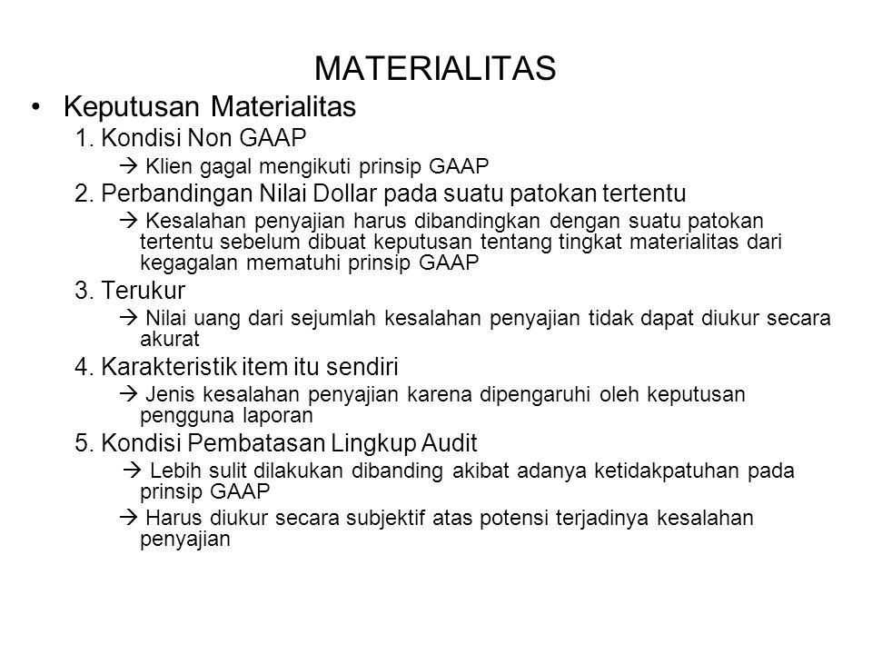 MATERIALITAS Keputusan Materialitas 1. Kondisi Non GAAP  Klien gagal mengikuti prinsip GAAP 2. Perbandingan Nilai Dollar pada suatu patokan tertentu