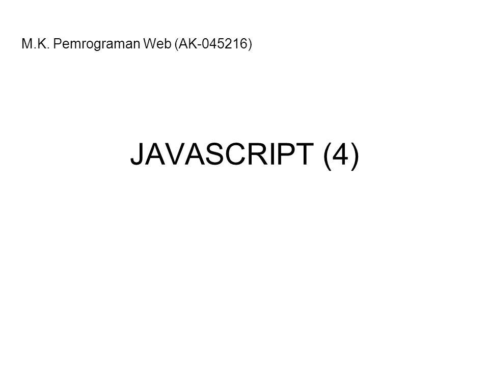 2 Pernyataan IF Pernyataan IF tanpa else if (kondisi) { // blok pernyataan yang dijalankan // kalau kondisi bernilai benar } Contoh if <!-- var nilai = prompt( Nilai (0-100): , 0); var hasil = Tidak Lulus ; if (nilai >= 60) hasil = Lulus ; document.write( Hasil: + hasil); //--> Pernyataan IF dengan ELSE if (kondisi) { // blok pernyataan yang dijalankan // kalau kondisi bernilai benar } else { // blok pernyataan yang dijalankan // kalau kondisi bernilai salah } Contoh if-else <!-- var nilai = prompt( Nilai (0-100): , 0); var hasil = ; if (nilai >= 60) hasil = Lulus ; else hasil = Tidak Lulus ; document.write( Hasil: + hasil); //-->