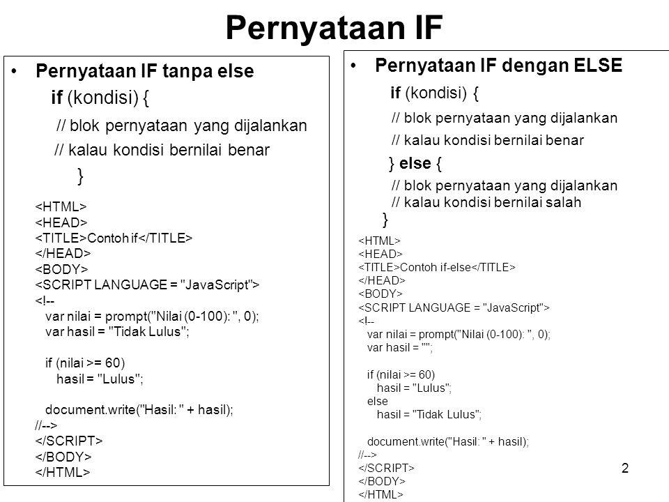 13 Fungsi yang Dibuat Sendiri Menampilkan Jam Jam Waktu Sekarang : <INPUT TYPE = TEXT NAME = teksWaktu VALUE = SIZE = 22 > <!-- function aturWaktu() { var sekarang = new Date(); var waktuSekarang = sekarang.toLocaleString(); document.formWaktu.teksWaktu.value = waktuSekarang; setTimeout( aturWaktu() , 1000); return(true); } // Menjalankan fungsi aturWaktu aturWaktu(); //-->