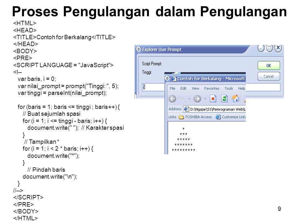 10 Fungsi Mendefinisikan Fungsi function nama(daftar_parameter) { Pernyataan_1; pernyataan_n; } c = jumlah ( 2, 3 ); Nama fungsi argumen Nilai balik HTML> Contoh Fungsi <!-- function jumlah(x, y) { var hasil = x + y; return(hasil); } var z = jumlah(2, 3); document.write(z); document.write( ); document.write(jumlah(4, 5)); //-->