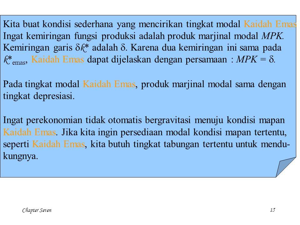 Chapter Seven 15 Kita buat kondisi sederhana yang mencirikan tingkat modal Kaidah Emas Ingat kemiringan fungsi produksi adalah produk marjinal modal M