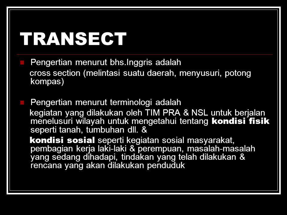 TRANSECT Pengertian menurut bhs.Inggris adalah cross section (melintasi suatu daerah, menyusuri, potong kompas) Pengertian menurut terminologi adalah