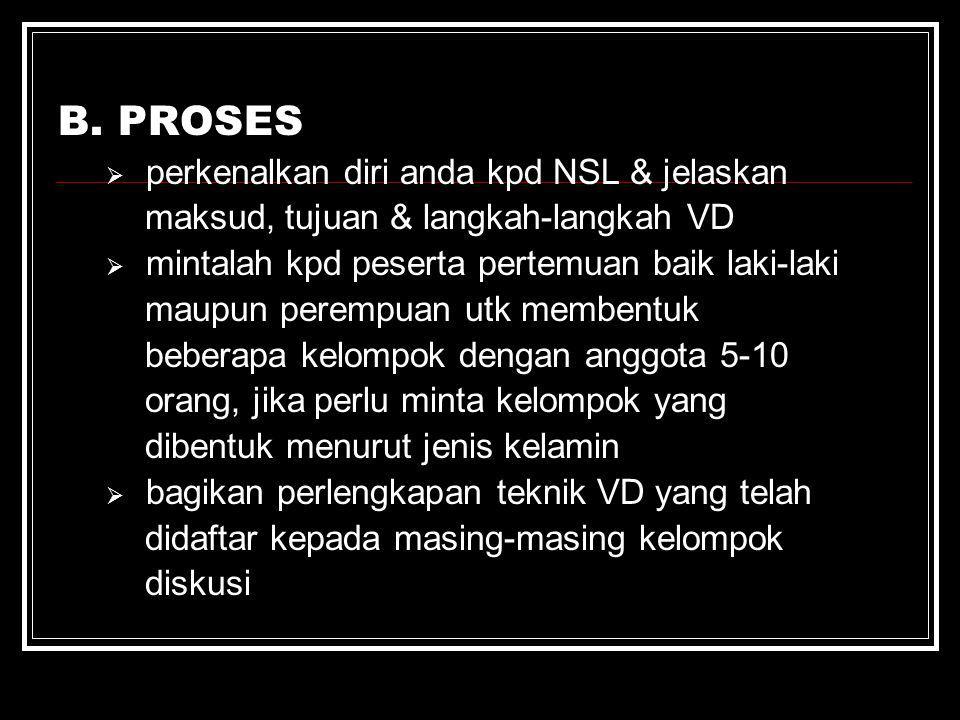 B. PROSES  perkenalkan diri anda kpd NSL & jelaskan maksud, tujuan & langkah-langkah VD  mintalah kpd peserta pertemuan baik laki-laki maupun peremp