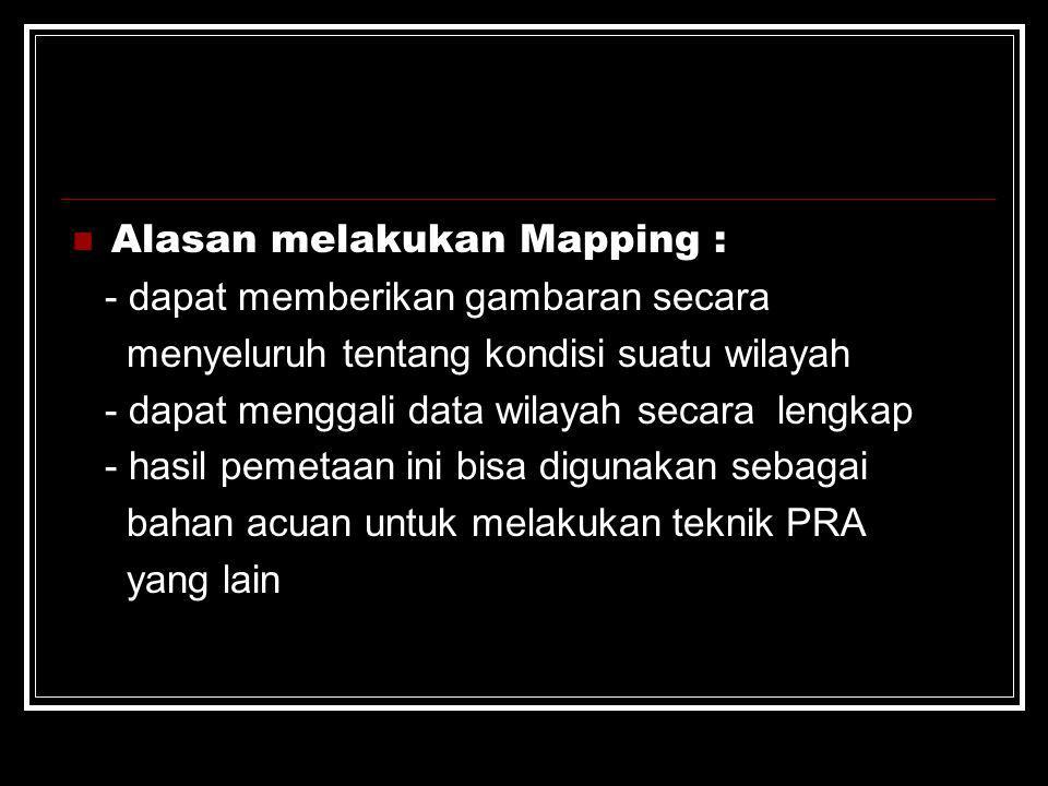 Alasan melakukan Mapping : - dapat memberikan gambaran secara menyeluruh tentang kondisi suatu wilayah - dapat menggali data wilayah secara lengkap -