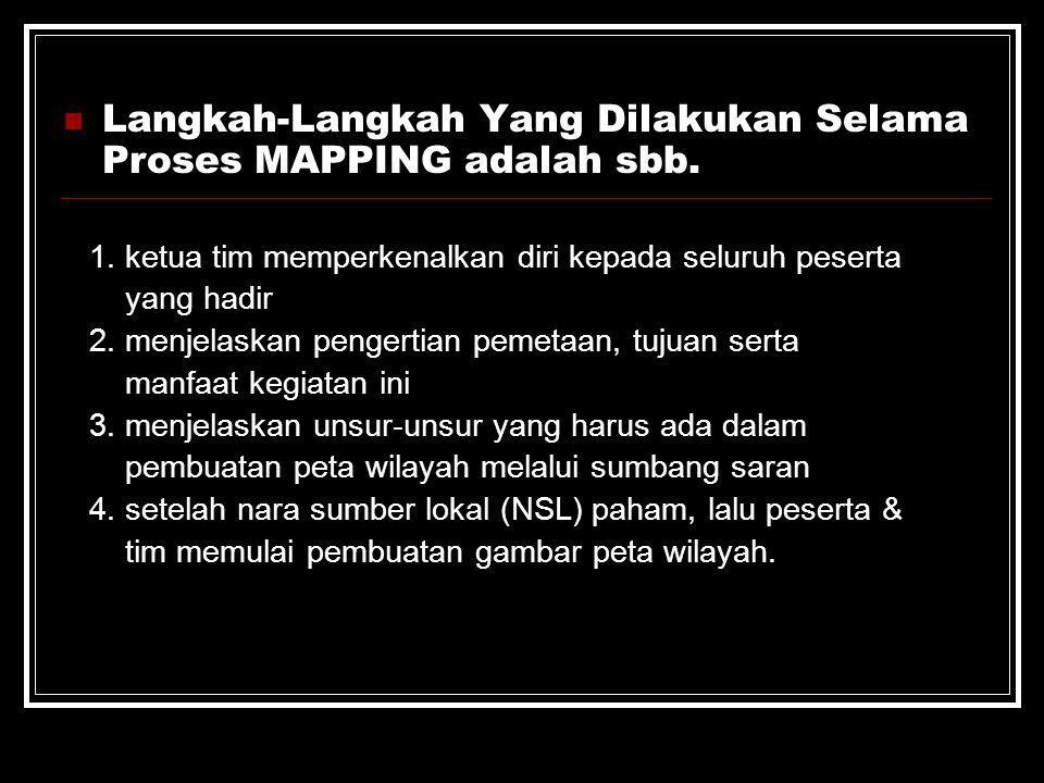 Langkah-Langkah Yang Dilakukan Selama Proses MAPPING adalah sbb. 1. ketua tim memperkenalkan diri kepada seluruh peserta yang hadir 2. menjelaskan pen