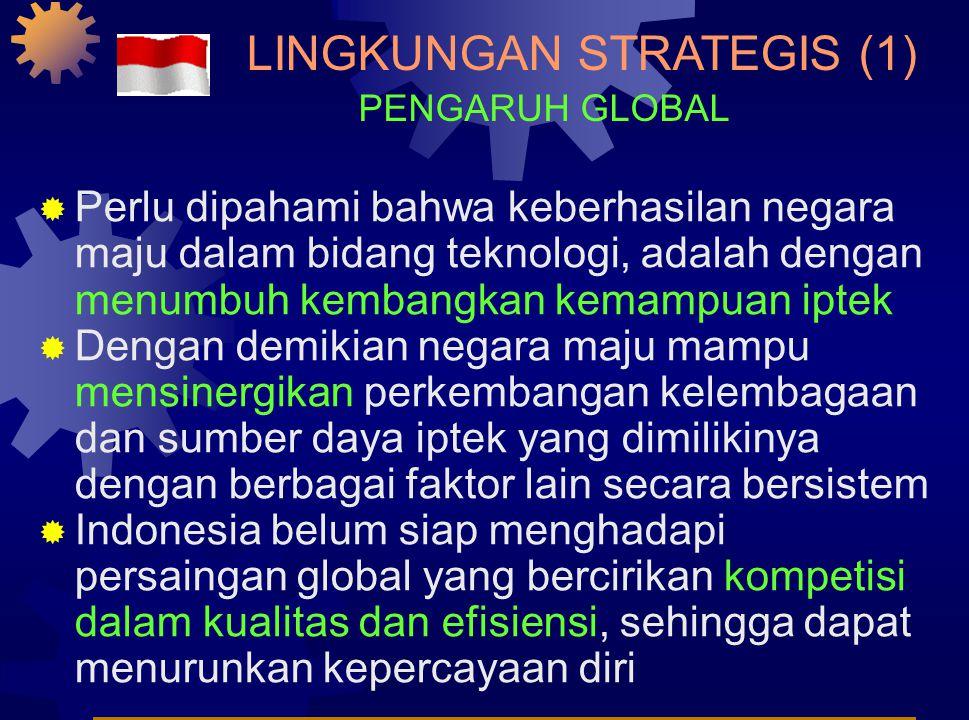 LINGKUNGAN STRATEGIS (1)  Perlu dipahami bahwa keberhasilan negara maju dalam bidang teknologi, adalah dengan menumbuh kembangkan kemampuan iptek  Dengan demikian negara maju mampu mensinergikan perkembangan kelembagaan dan sumber daya iptek yang dimilikinya dengan berbagai faktor lain secara bersistem  Indonesia belum siap menghadapi persaingan global yang bercirikan kompetisi dalam kualitas dan efisiensi, sehingga dapat menurunkan kepercayaan diri PENGARUH GLOBAL