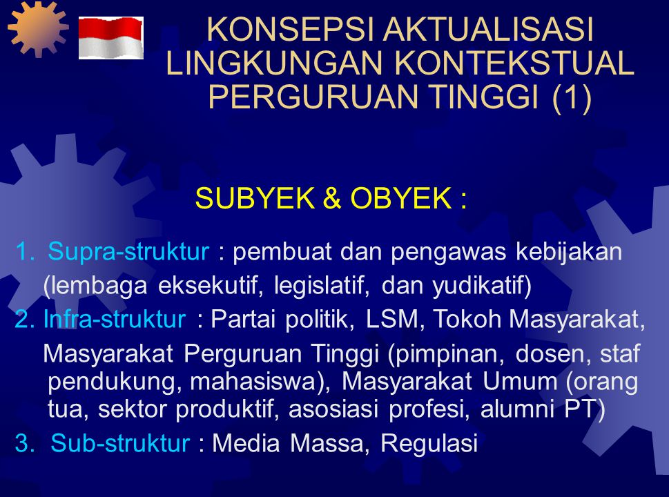 KONSEPSI AKTUALISASI LINGKUNGAN KONTEKSTUAL PERGURUAN TINGGI (1) SUBYEK & OBYEK : 1.Supra-struktur : pembuat dan pengawas kebijakan (lembaga eksekutif, legislatif, dan yudikatif) 2.