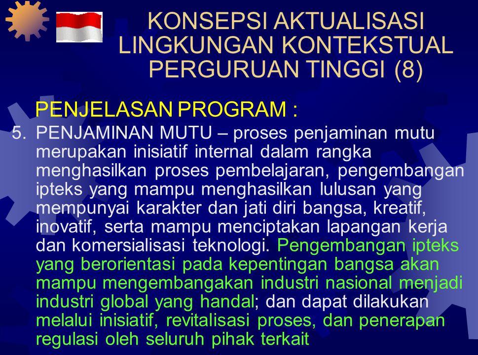 KONSEPSI AKTUALISASI LINGKUNGAN KONTEKSTUAL PERGURUAN TINGGI (8) PENJELASAN PROGRAM : 5.