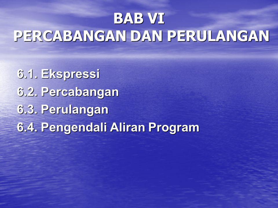 BAB VI PERCABANGAN DAN PERULANGAN 6.1.Ekspressi 6.2.