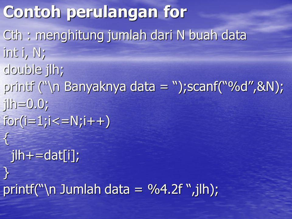 Contoh perulangan for Cth : menghitung jumlah dari N buah data int i, N; double jlh; printf ( \n Banyaknya data = );scanf( %d ,&N); jlh=0.0;for(i=1;i<=N;i++){ jlh+=dat[i]; jlh+=dat[i];} printf( \n Jumlah data = %4.2f ,jlh);