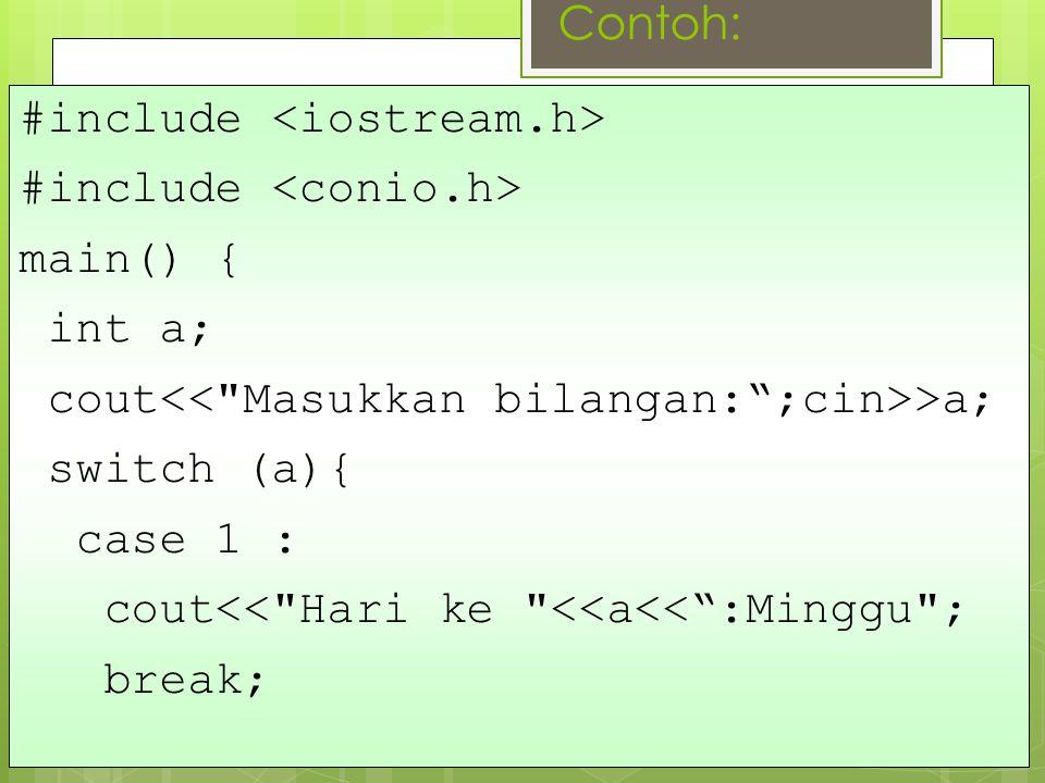 Contoh: #include main() { int a; cout >a; switch (a){ case 1 : cout<< Hari ke <<a<< :Minggu ; break;