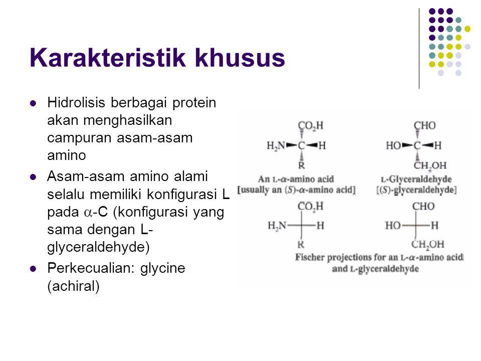 Zwitterions Merupakan ion-ion dipolar (dalam satu molekul ada polarisasi muatan) Untuk asam amino: gugus –NH 2 = gugus basa gugus –CO 2 H = gugus asam Asam amino pada kondisi kering: sebagai ion dipolar Asam amino pada kondisi basah: kesetimbangan antara ion dipolar dengan ion basa dan ion asam
