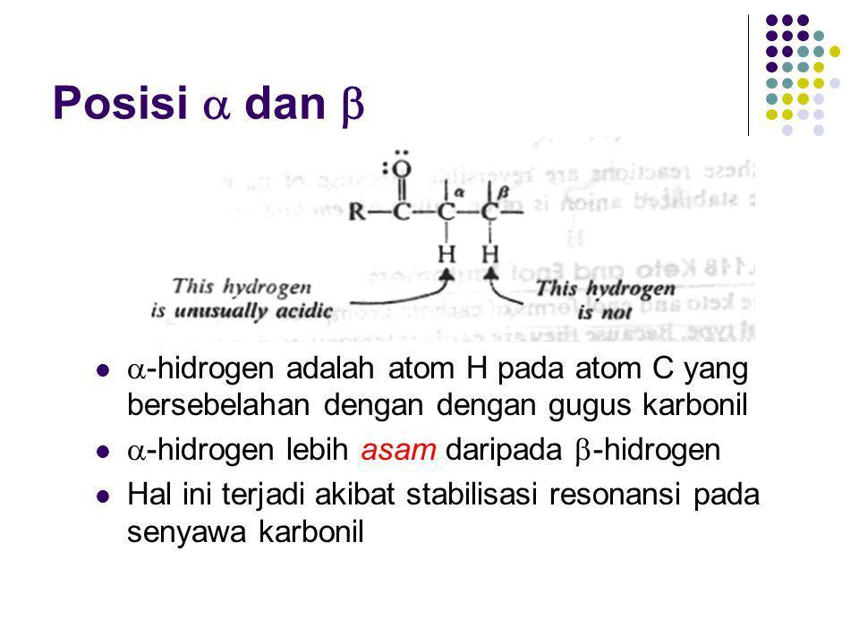 Resonansi Struktur A: muatan negatif pada karbon karena ikatan  pada C-O lebih kuat daripada ikatan  pada C-C di struktur B Struktur B: muatan negatif pada oksigen karena elektronegativitas oksigen yang jauh lebih besar daripada C