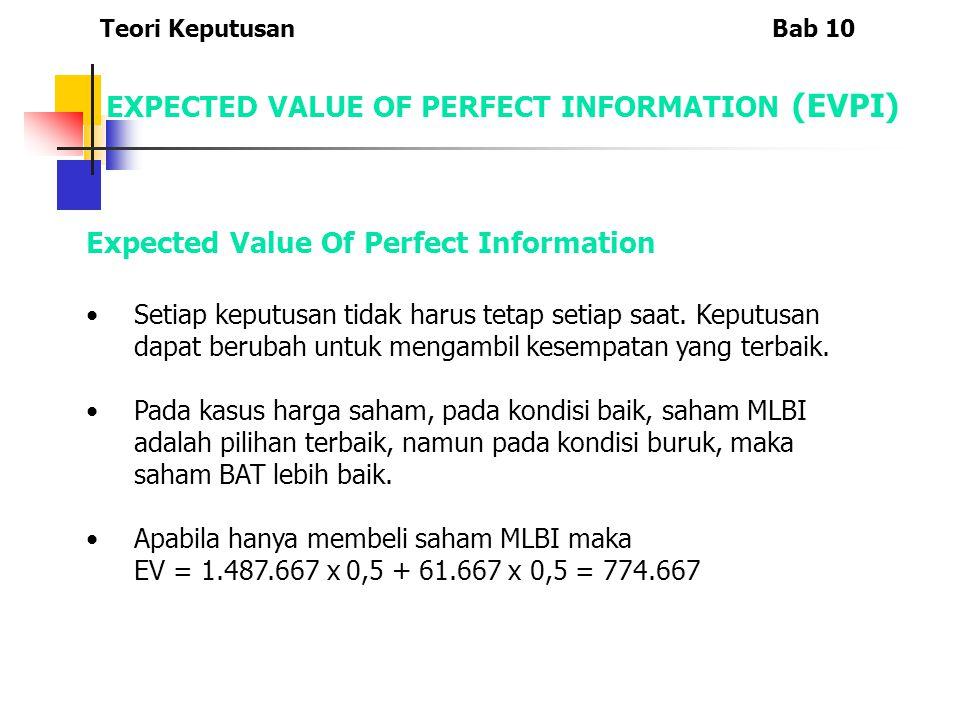 EXPECTED VALUE OF PERFECT INFORMATION (EVPI) Expected Value Of Perfect Information Setiap keputusan tidak harus tetap setiap saat. Keputusan dapat ber
