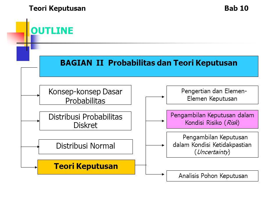 KEPUTUSAN DALAM KETIDAKPASTIAN Teori KeputusanBab 10 4.Kriteria Hurwicz Keputusan didasarkan pada perkalian hasil dan koefisien optimisme.