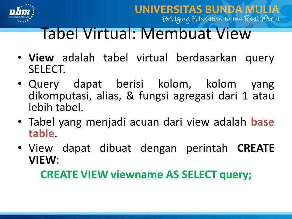 Tabel Virtual: Membuat View View adalah tabel virtual berdasarkan query SELECT.