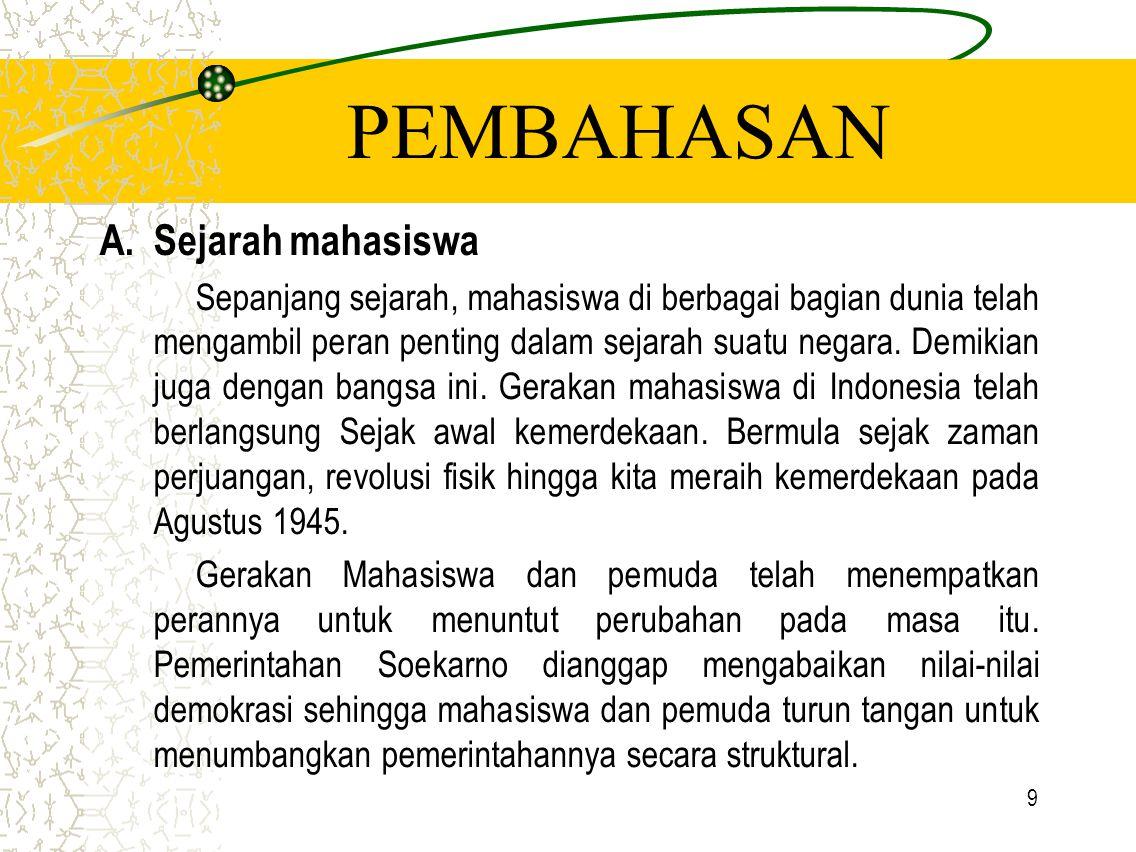 9 PEMBAHASAN A.Sejarah mahasiswa Sepanjang sejarah, mahasiswa di berbagai bagian dunia telah mengambil peran penting dalam sejarah suatu negara. Demik