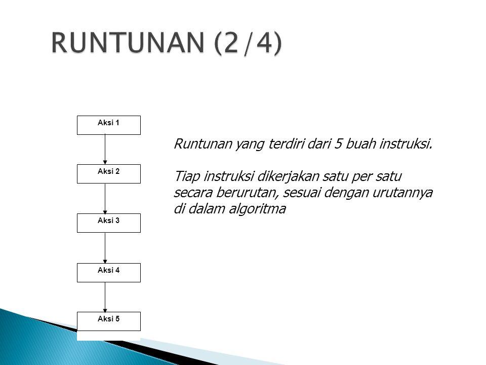 Runtunan yang terdiri dari 5 buah instruksi. Tiap instruksi dikerjakan satu per satu secara berurutan, sesuai dengan urutannya di dalam algoritma Aksi