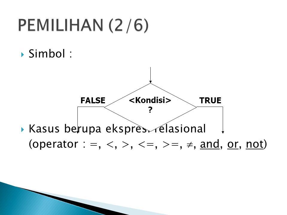  Simbol :  Kasus berupa ekspresi relasional (operator : =,, =, , and, or, not) ? TRUEFALSE