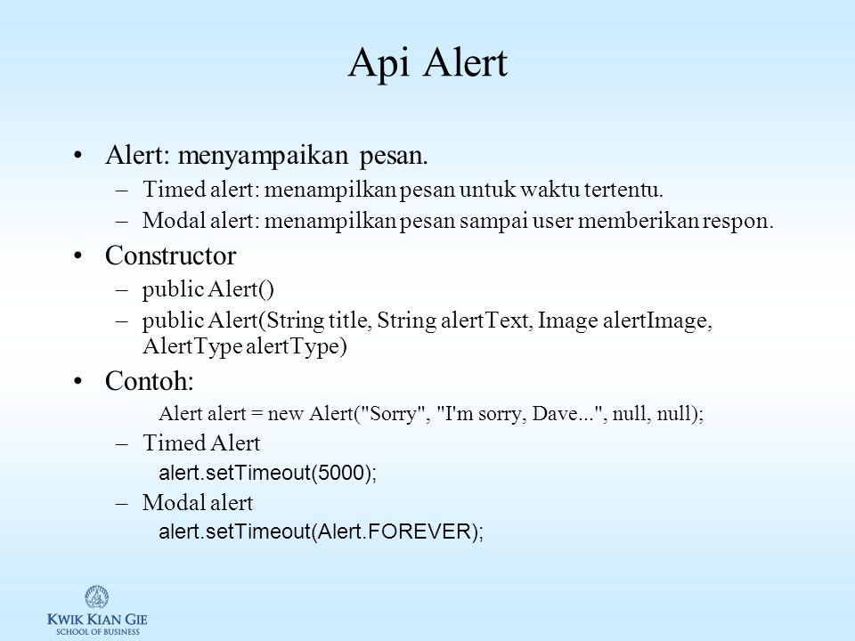 Api TextBox TextBox: input user dalam bentuk text. Constructor TextBox: public TextBox(String title, String text, int maxSize, int constraints) Contoh