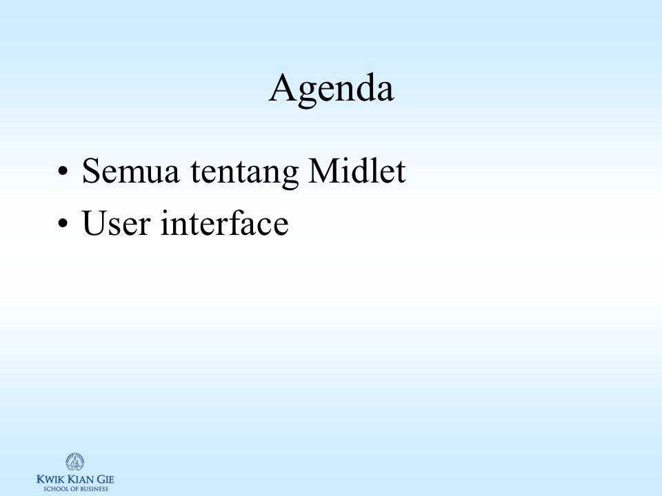 Web Teknologi 3 (MKB721C) Minggu 2 Page 1 MINGGU 2 Web Teknologi 3 (MKB721C) Pokok Bahasan: –Midlet –User Interface Tujuan Instruksional Khusus: Agar