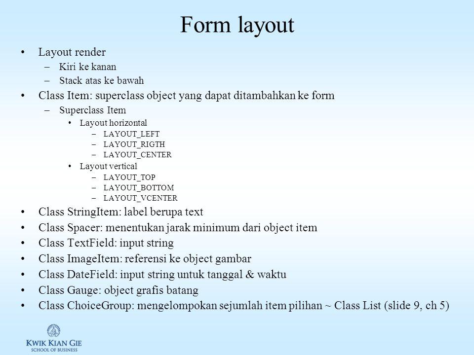 Mengelola object List Mengganti, menyisipkan dan menambahkan object: –public void set(int elementNum, String stringPart, Image imagePart) –public void