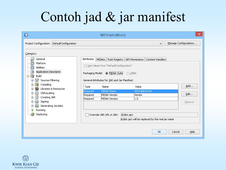 """Midlet paket Class & file resource yang di-""""bundling"""" dalam jar. Jar manifest: informasi yang dibutuhkan aplikasi manager untuk menjalankan Midlet. Ja"""
