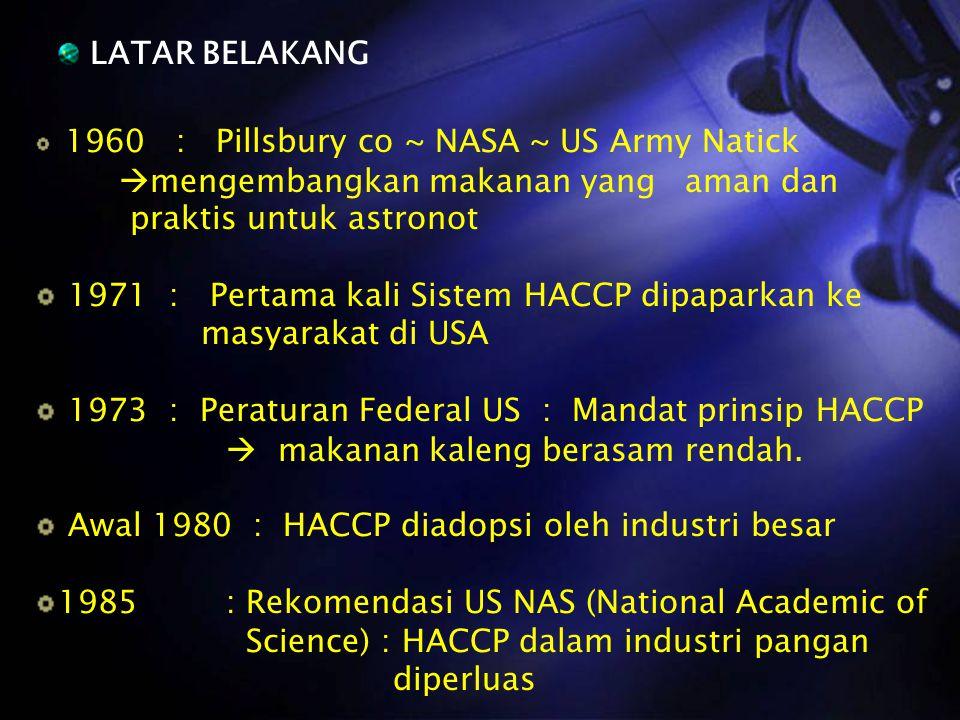 LATAR BELAKANG 1960 : Pillsbury co ~ NASA ~ US Army Natick  mengembangkan makanan yang aman dan praktis untuk astronot 1971 : Pertama kali Sistem HAC