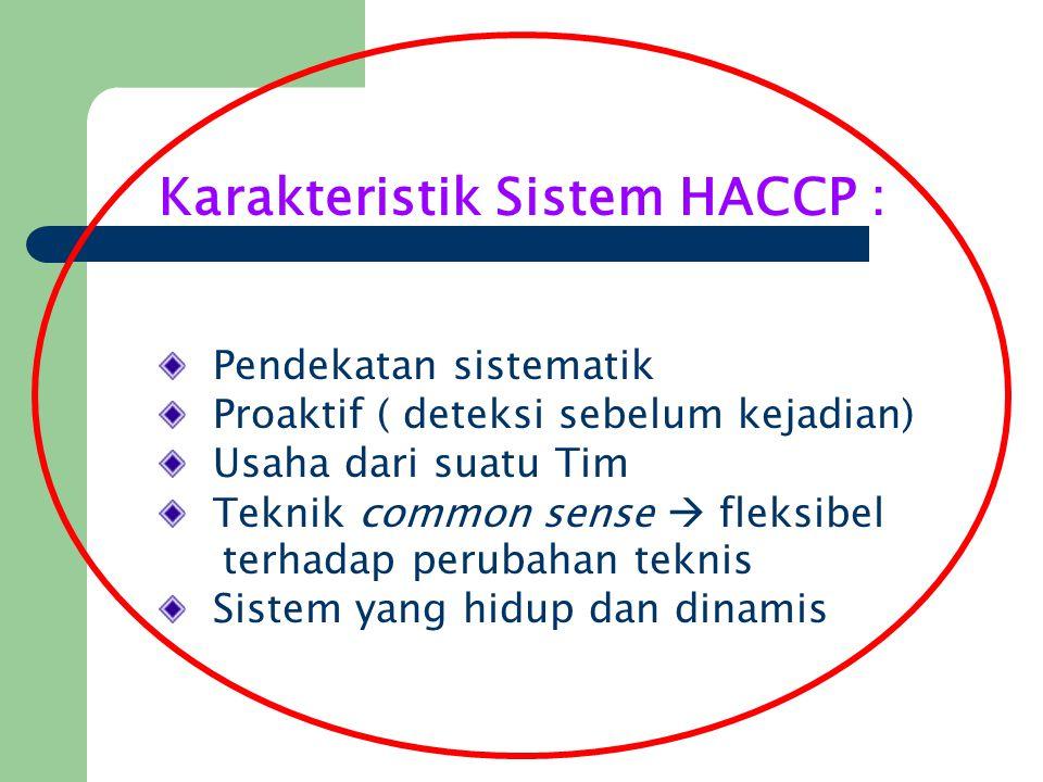 Karakteristik Sistem HACCP : Pendekatan sistematik Proaktif ( deteksi sebelum kejadian) Usaha dari suatu Tim Teknik common sense  fleksibel terhadap