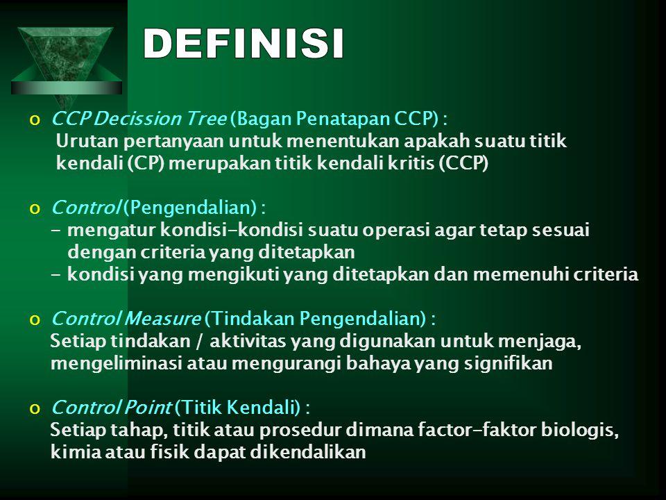 oCCP Decission Tree (Bagan Penatapan CCP) : Urutan pertanyaan untuk menentukan apakah suatu titik kendali (CP) merupakan titik kendali kritis (CCP) oC