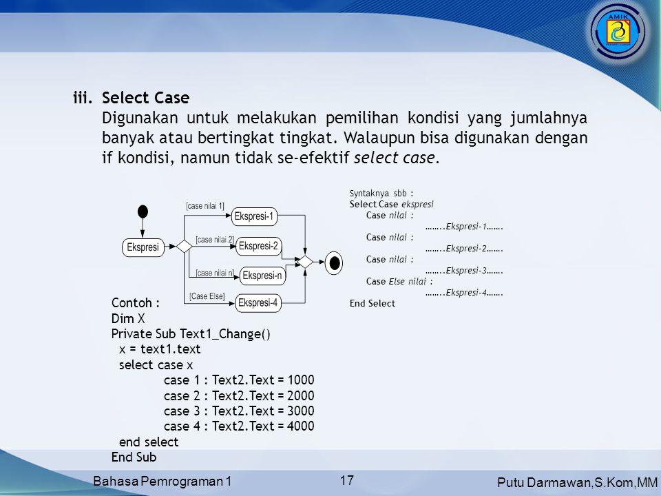 Putu Darmawan,S.Kom,MM Bahasa Pemrograman 1 17 Syntaknya sbb : Select Case ekspresi Case nilai : ……..Ekspresi-1…….
