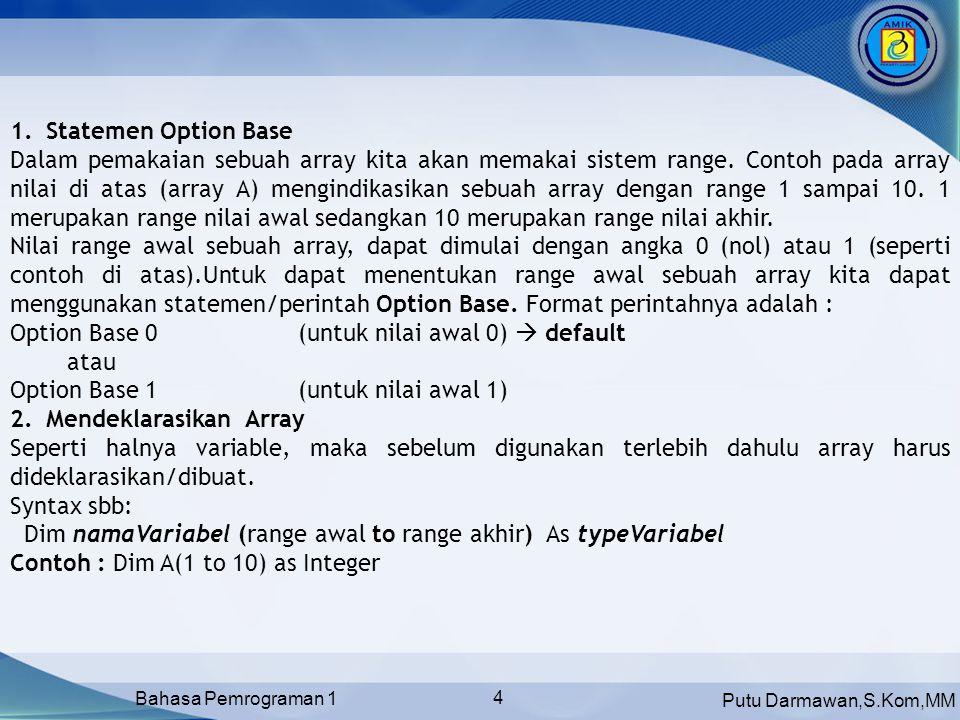 Putu Darmawan,S.Kom,MM Bahasa Pemrograman 1 4 1.Statemen Option Base Dalam pemakaian sebuah array kita akan memakai sistem range.