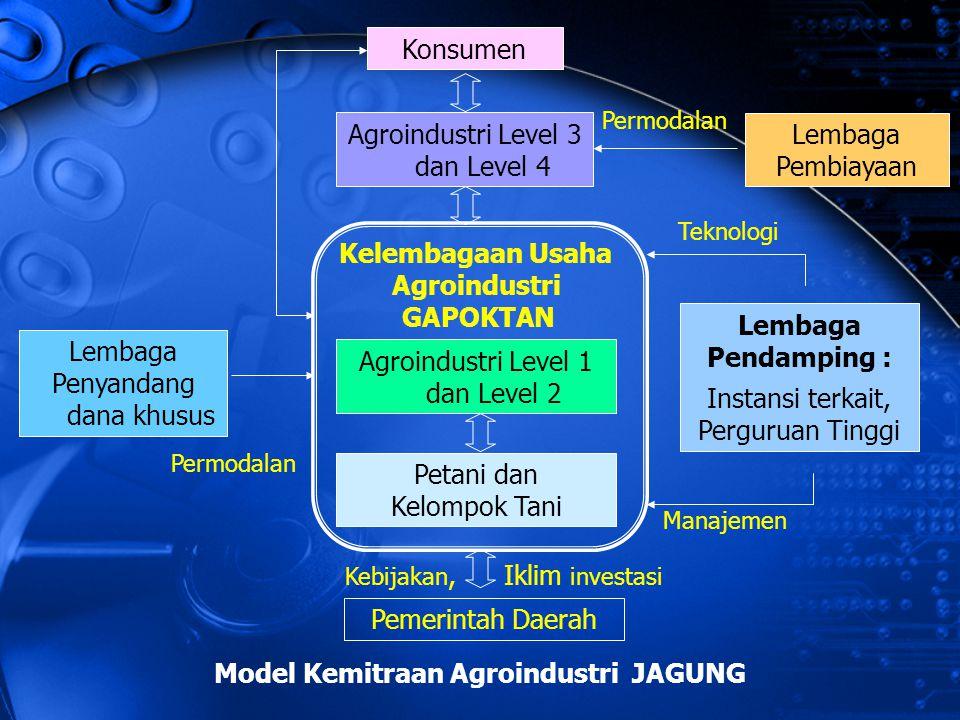 Petani dan Kelompok Tani Agroindustri Level 1 dan Level 2 Kelembagaan Usaha Agroindustri GAPOKTAN Agroindustri Level 3 dan Level 4 Konsumen Lembaga Pe