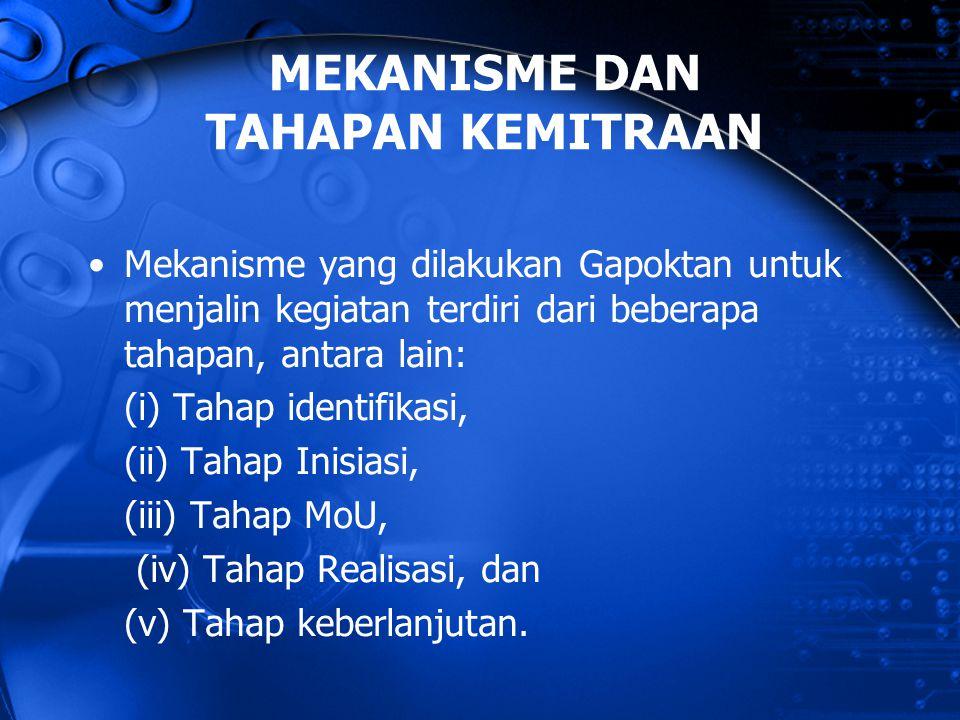Mekanisme yang dilakukan Gapoktan untuk menjalin kegiatan terdiri dari beberapa tahapan, antara lain: (i) Tahap identifikasi, (ii) Tahap Inisiasi, (ii