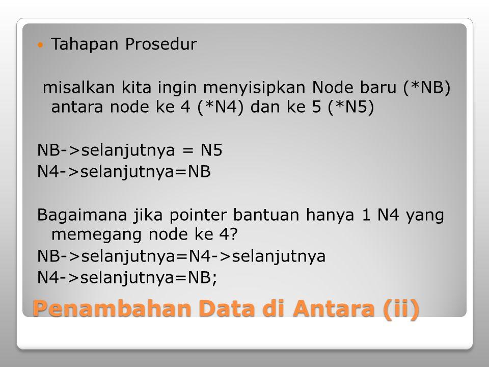 Penambahan Data di Antara (ii) Tahapan Prosedur misalkan kita ingin menyisipkan Node baru (*NB) antara node ke 4 (*N4) dan ke 5 (*N5) NB->selanjutnya