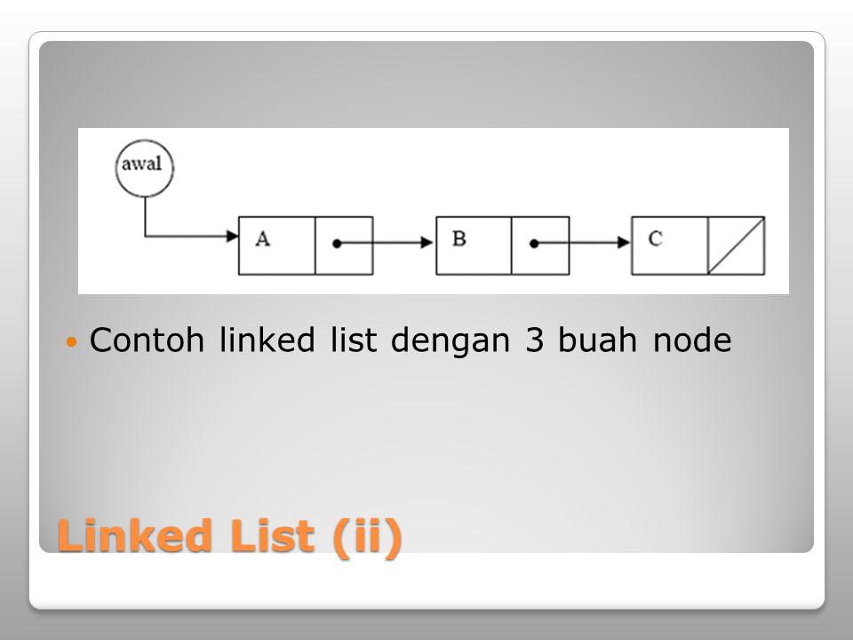 Linked List (iii) Pada C Deklarasi sebuah node dapat dilakukan dengan struct node{ int data; struct node *selanjutnya; } typedef struct node node;