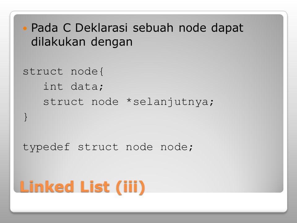 Operasi Bentuk operasi pada linked list meliputi ◦Penambahan data ◦Penghapusan data ◦Pengaksesan data (menampilkan 1 atau seluruh linked list, termasuk pencarian) ◦Update data Seluruh operasi ini menjadi perhatian terkait dengan efisiensi dari aspek waktu eksekusi