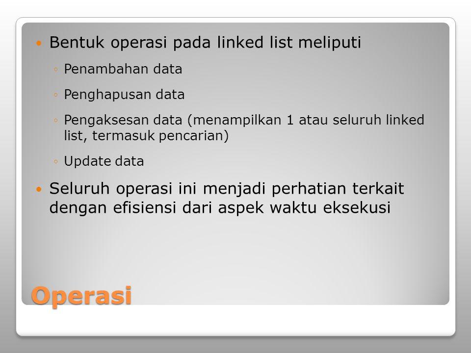 Operasi Bentuk operasi pada linked list meliputi ◦Penambahan data ◦Penghapusan data ◦Pengaksesan data (menampilkan 1 atau seluruh linked list, termasu