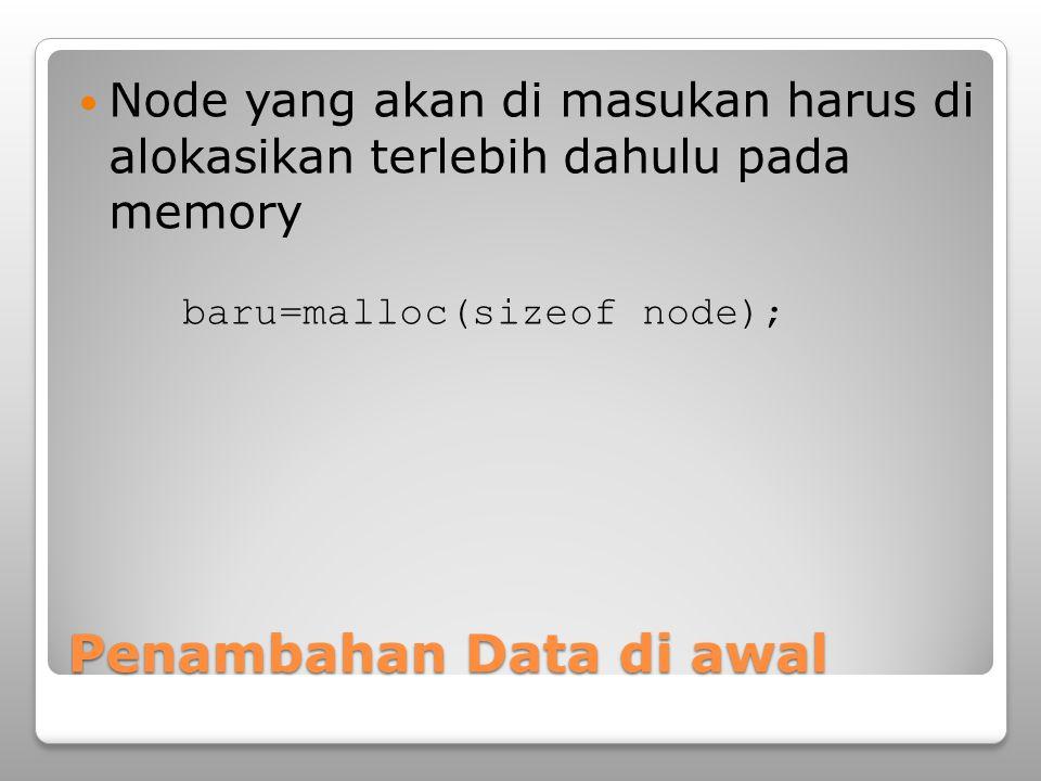 Penambahan Data di awal Ketika sebuah data (node) baru akan dimasukan pada linked list kondisi linked list bisa kosong ataupun sudah ada isinya Node pertama pada sebuah linked list pada umumnya ditunjuk oleh suatu pointer bantuan (head/awal) Kondisi kosong dapat dicek dengan kondisi awal=NULL
