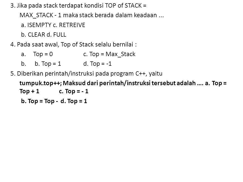 3.Jika pada stack terdapat kondisi TOP of STACK = MAX_STACK - 1 maka stack berada dalam keadaan...