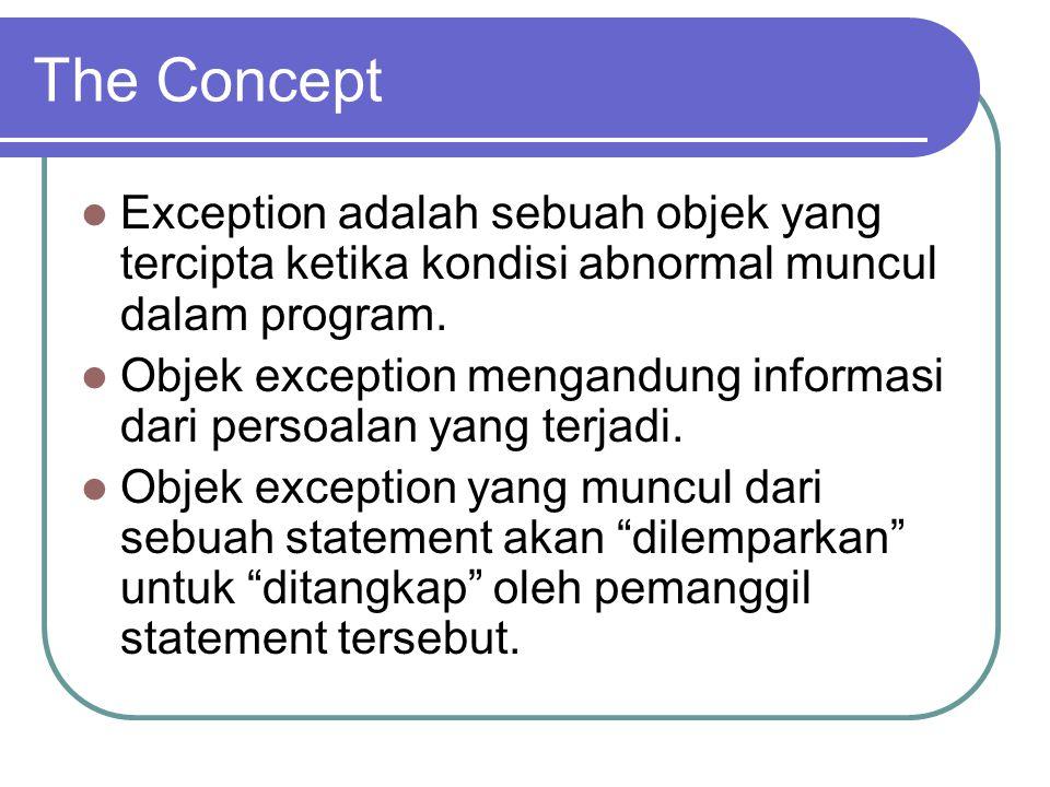 The Concept Exception adalah sebuah objek yang tercipta ketika kondisi abnormal muncul dalam program. Objek exception mengandung informasi dari persoa