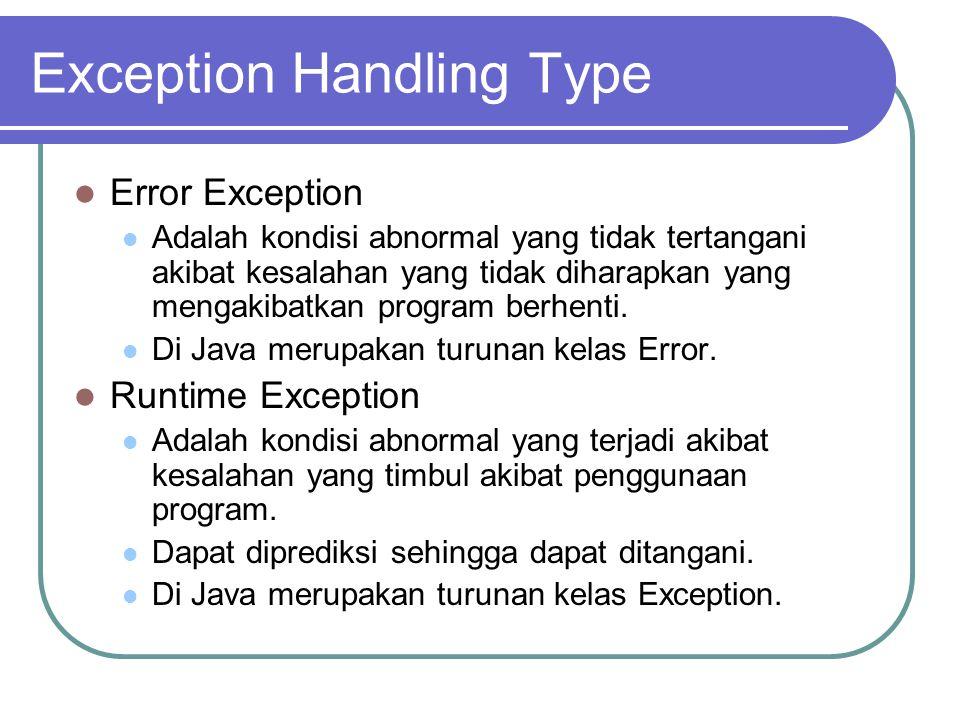 Exception Handling Type Error Exception Adalah kondisi abnormal yang tidak tertangani akibat kesalahan yang tidak diharapkan yang mengakibatkan progra