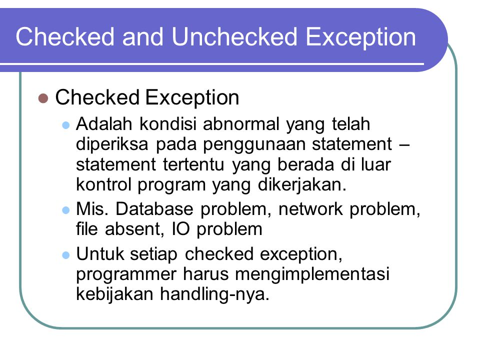 Custom Exception public class CustomException extends Exception { public CustomException() { } public CustomException(String msg) { super(msg); } } public class TestException { public void doException throws CustomException { throw new CustomException( x-ception ); } }