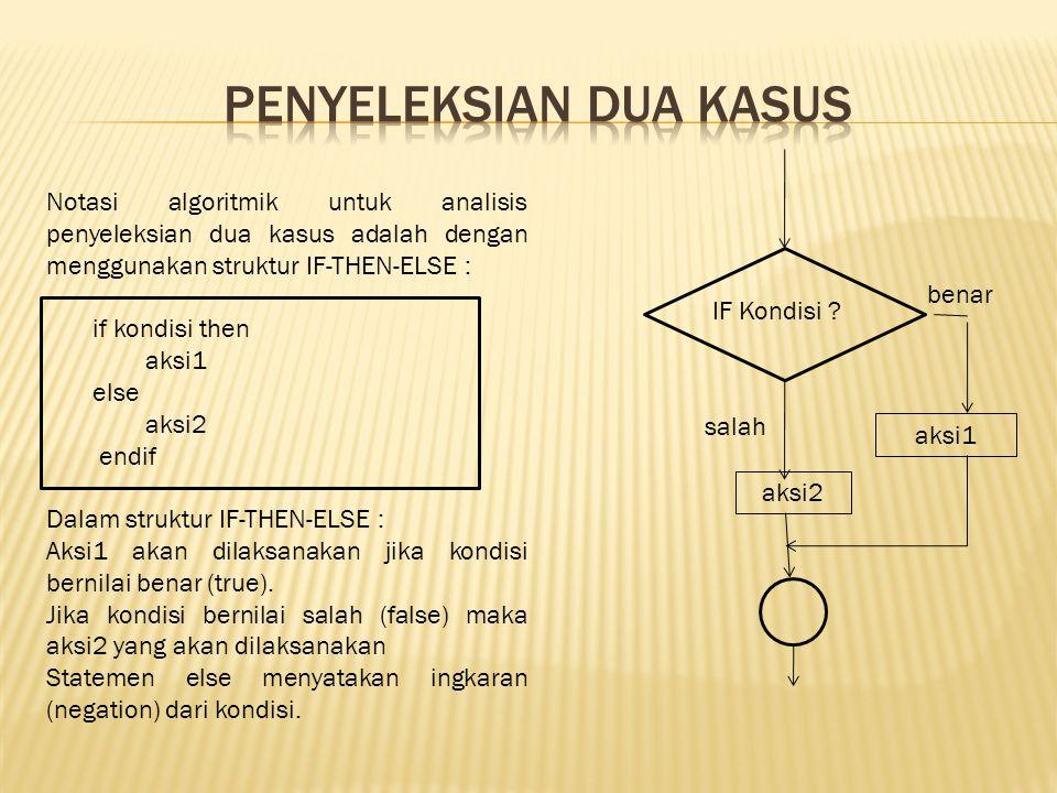 Notasi algoritmik untuk analisis penyeleksian dua kasus adalah dengan menggunakan struktur IF-THEN-ELSE : if kondisi then aksi1 else aksi2 endif Dalam