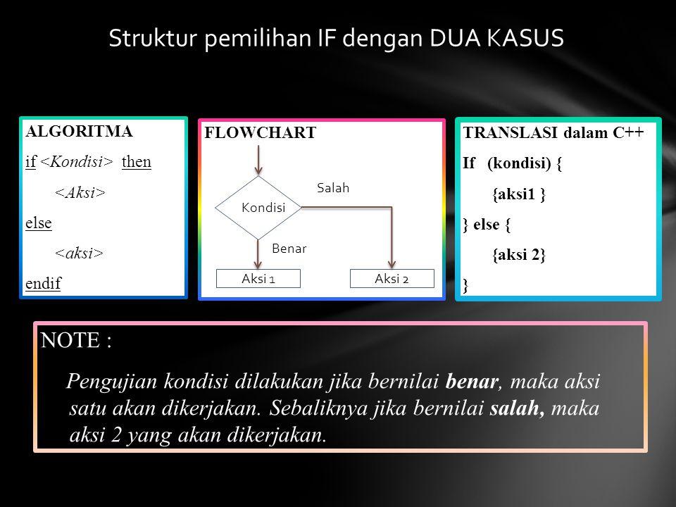 Struktur pemilihan IF dengan DUA KASUS ALGORITMA if then else endif NOTE : Pengujian kondisi dilakukan jika bernilai benar, maka aksi satu akan dikerj