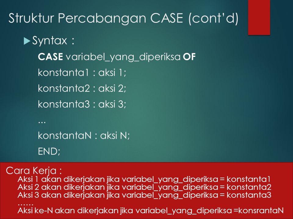 Struktur Percabangan CASE (cont'd)  Syntax : CASE variabel_yang_diperiksa OF konstanta1 : aksi 1; konstanta2 : aksi 2; konstanta3 : aksi 3;... konsta