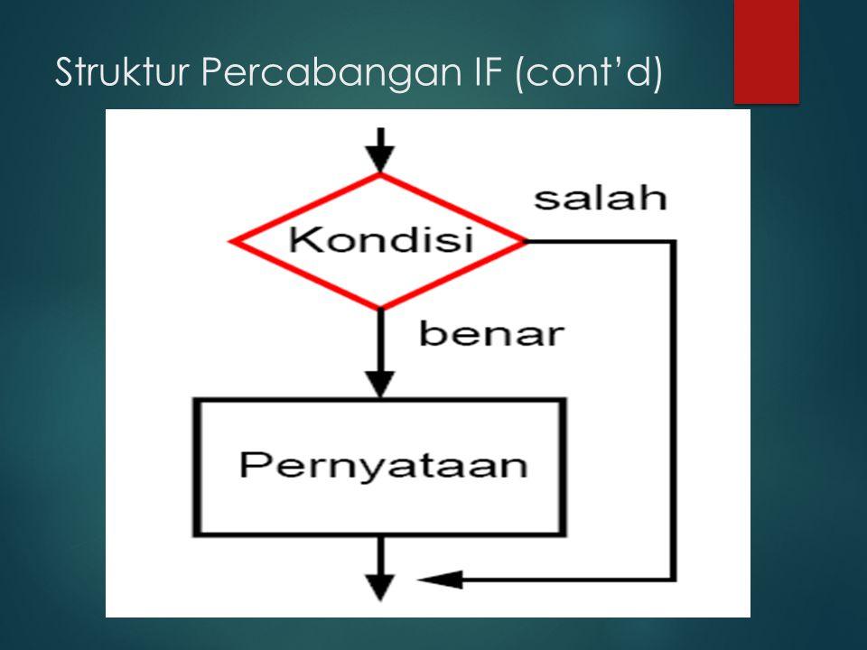  IF untuk 2 kondisi pemecahan  Syntax (Aturan Penulisan) : IF ekspresi/kondisi THEN BEGIN A ksi 1 END ELSE BEGIN Aksi 2 END ; Cara Kerja : AKSI 1 akan dikerjakan jika EKSPRESI/KONDISI bernilai TRUE AKSI 2 akan dikerjakan jika EKSPRESI/KONDISI bernilai FALSE